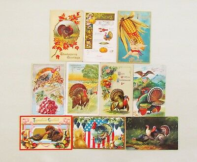 Antique postcard lot #3, 10 Thanksgiving early 1900's, 4 unused, good condition