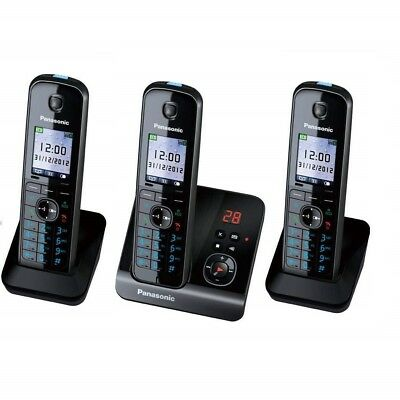 KXTG8163EB Triple Pack Digital Cordless Telephone with Answer Machine in Black