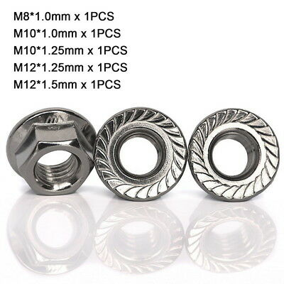 5Pcs M8 M10 M12 Fine Pitch Thread Serrated Flange Lock Nuts Kit - 304 Stainless