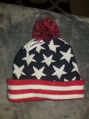 45ed14b3a24de8 Old Navy Stars & Stripes Red White Navy American Flag Beanie Pompom One  Size Hat