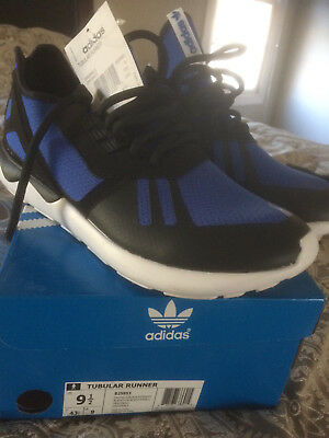 new products 26aa0 f8424 ... store new adidas tubular runner sneakers black blue sz 9.5 free  shipping 843aa 1f3d1
