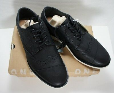 a4466cf7858 TOMS Men s Brogue Full Grain Leather Wingtip Black Shoes Size 9.5D New In  Box