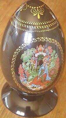 Vintage ceramic Russian fairytale egg with plastic stand