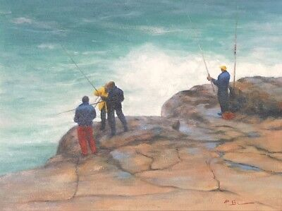 """Original Oil Painting Untitled """"Rock Fishing"""" Signed Illegible lower Right"""