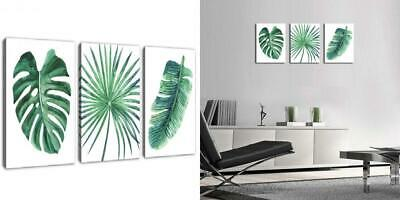 Green Leaf Wall Art Tropical Plants Simple Life Picture Artwork, 3 Pieces...