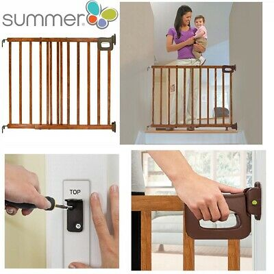 Stairway Secure Wood Gate Door Baby Child Infant Pet Safty Stairs Locking System
