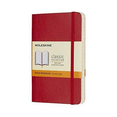 Moleskine Classic Notebook Pocket Ruled Scarlet Red Soft Cover 3.5 X 5.5