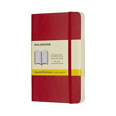 Moleskine Classic Notebook Pocket Squared Scarlet Red Soft Cover 3.5 X 5.5