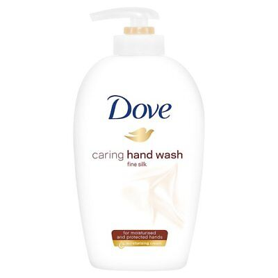 2x Dove Caring Hand Wash Fine Silk Moisturising Cream 250ml Each Free P&P UK