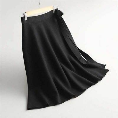 Women Skirt Brief Solid Elegant A-Line Wool Knit Skirt With Knot Tie Ladies Girl