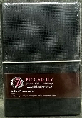 Black Medium Journal 288 Lined Pages Cream Paper 100GSM BRAND NEW! Piccadilly