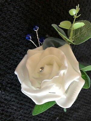 Wedding Flowers 12 Ivory or White Rose Buttonhole's with Royal Blue Bead Spray