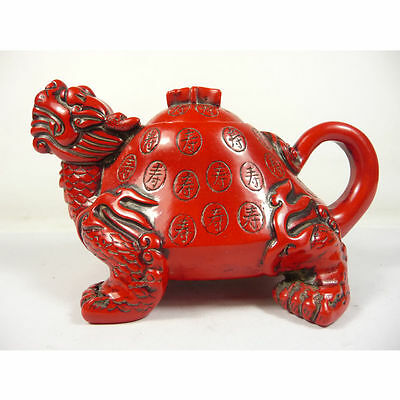 old china handwork superb red coral carved dragon turtle shape teapot