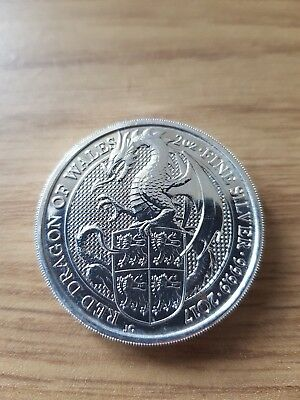 """2017 2 oz Silver """"The Queen's Beasts"""" Red Dragon of Wales Coin .999 Fine"""