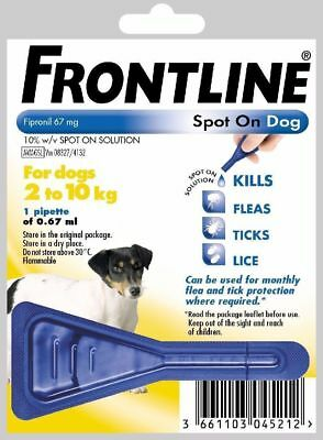 Frontline Spot On Flea Small Dog 2-10kg 1 2 3 4 5 6 Pipettes Fast Free 1st Class