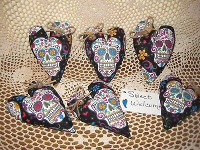 6 Fabric Sugar Skull heart ornaments wreath-making Day of the Dead Home Decor