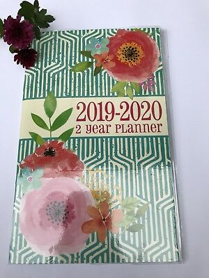 "2019 -2020 two year Monthly Planner Calendar  5"" x 8"" Green, Roses Poppyseed"
