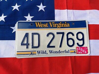 Plaque d' immatriculation West Virginia  4D 2769 Us Usa license plate
