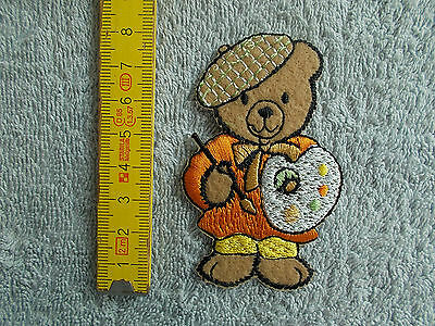 Annäher Aufnäher Applikation - TEDDY ALS KUNSTMALER orange - H 8 cm x B 5 cm