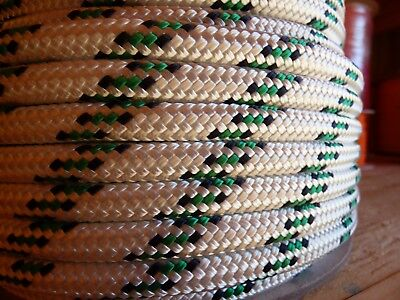 """3/8"""" x 100 ft. Double Braid-Yacht Braid Polyester Rope.White/Navy/Green. US Made"""