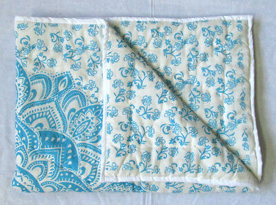 New Born Baby Quilt Floral Mandala Reversible Coverlet With 100% Cotton Filled