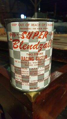 Vintage All Metal Super Bendzall Racing Castor 2 Stroke Oil Metal Can Usa Full