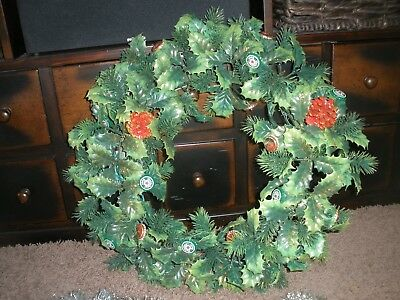 "Vintage LIGHT UP Heineken BEER Bottle Cap XMAS WREATH  22"" BAR MAN CAVE"