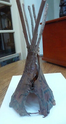 ANTIQUE 19th CENTURY PLAINS INDIAN MODEL TIPI TEEPEE PAINTED HIDE VERY RARE