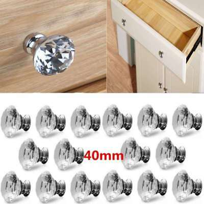 16-32X 40mm Crystal Diamond Glass Pull Handle Door Knob Drawer Cupboard Cabinet