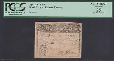 Rare NC-166a *** Cupid *** PCGS VF25  $10.00 April 2, 1776 North Carolina Note