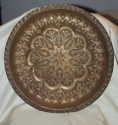 "Large Vintage Round Etched Ornate Brass Tray Platter 17"" Diameter Decorative"