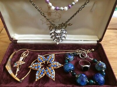 job lot of vintage jewellery +sterling silver Onyx Ring s Q, Trifary necklace