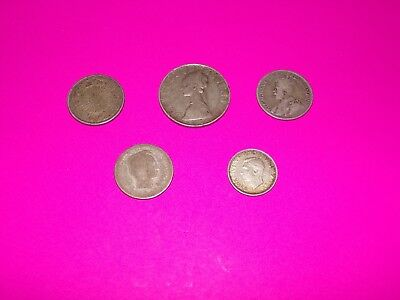 5 Coin Lot of Foreign Silver Coins (Japan/Italy/India/Unknown)