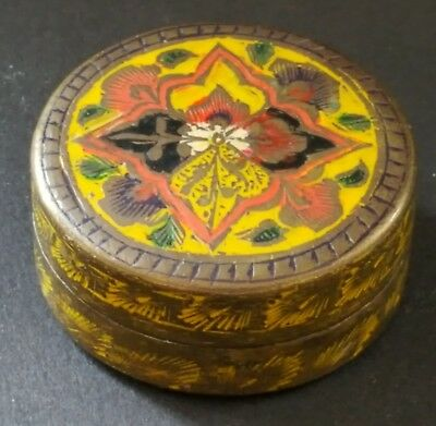 Brass with red & yellow enamel inlay vintage Victorian antique small box