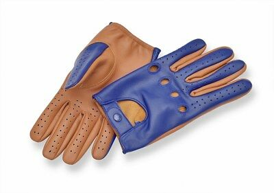 Top Quality Sheepskin Real Soft Leather Men Two-Tone Driving Gloves