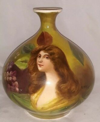 Hand Painted Bavaria Germany Royal Bonn Portrait Woman Bud Vase signed Wicharz