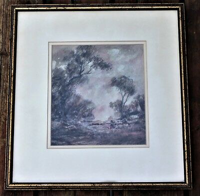 Vintage Illegibly Signed Watercolour & Charcoal Drawing - People By Trees