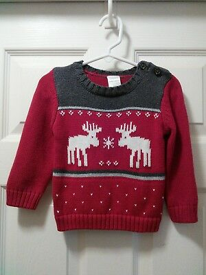 Gymboree Baby Boys Moose Reindeer Christmas Holiday Sweater Size 12-18 Months