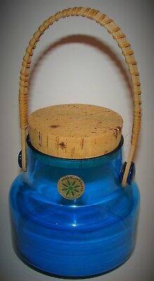 Vtg TAKAHASHI Aqua Blue Hand Blown Glass Jar w/ Rattan Handle & Cork Lid JAPAN