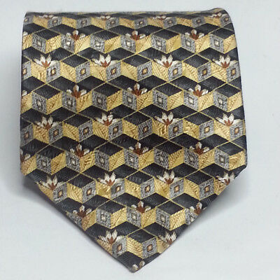 """Stainley Blacker Silk Dress Tie Blue Yellow 3.75"""" wide 59"""" long Made in USA"""