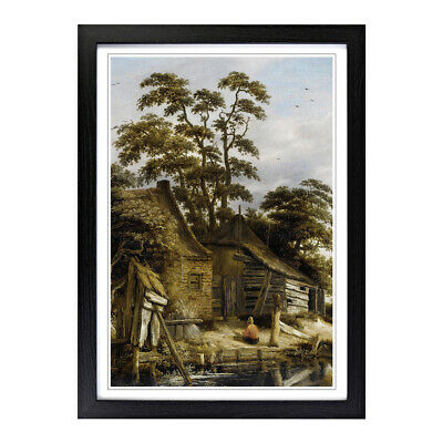 Framed Picture Print A2 Roelof van Vries Cottage on a River Painting Wall Art