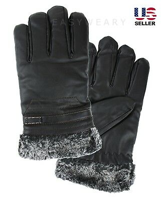 Mens Winter Fur Lined Thinsulated Leather Snow Utility Windproof Driving Gloves