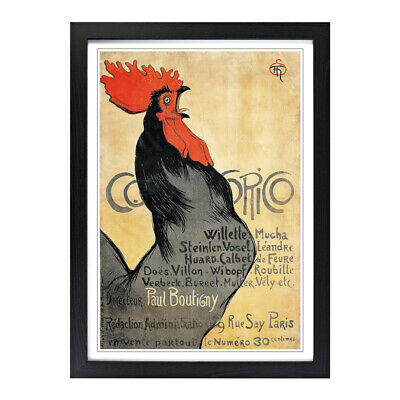 Framed Picture Print A2 Theophile Steinlen Cocorico Painting Wall Art Vertical