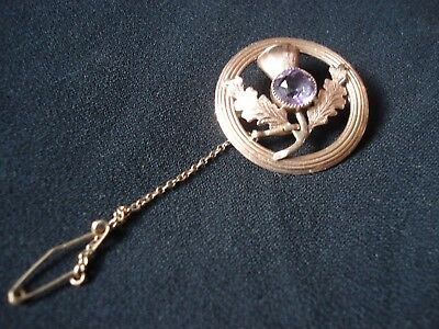 Solid 9Ct Rose Gold Scottish Thistle Brooch With Cut Purple Precious Gem Stone