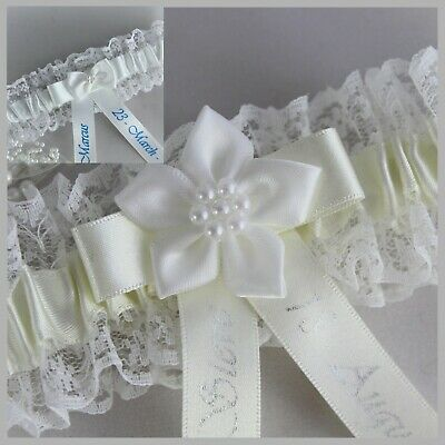 PERSONALISED IVORY OR WHITE LACE & SATIN BRIDAL GARTERS. Choice of text colour