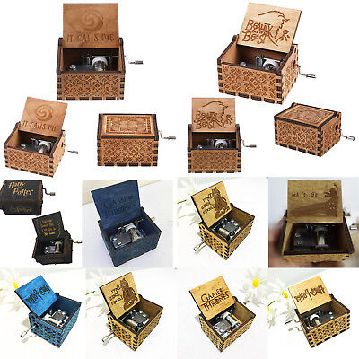 Wooden Music Box Harry Potter Game of Thrones Star Wars Engraved Kids Xmas Gifts