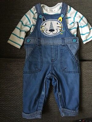 7e6fc84c3a18 M Co Baby Boys blue 2 Piece Dungaree Set - size 3-6 months