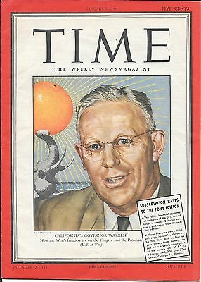 Time Magazine Pacific Pony Edition. Jan 31, 1944. Calif Governor Earl Warren.