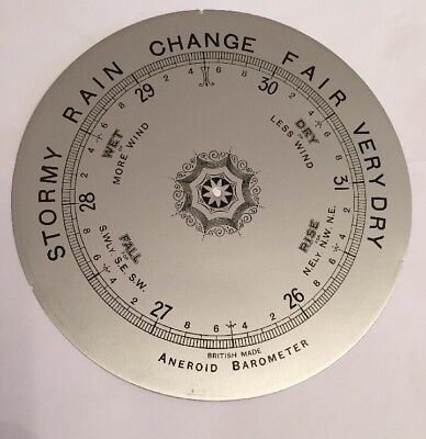 "Aneroid Barometer Dial 8"" Silver Diameter England Scientific Instrument"