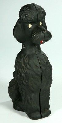 Vintage Antique Cast Iron Black Sitting French Poodle Piggy Bank Door Stop